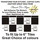 10 X Tile Transfers Stickers Tea Coffeee Cups Kitchen For 6
