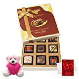 Valentine Chocholik Premium Gifts - True And Rich Combination Of Chocolates With Teddy And Love Card