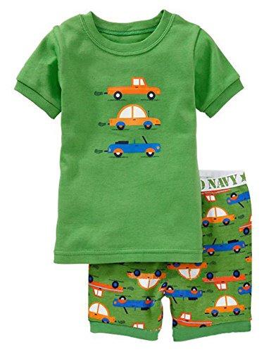 "Exdream Boy's ""Truck"" Cotton 2-piece Short Sleeve Pajama Set 3-4T Green"