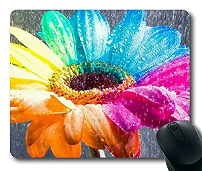 Colorful flower racoon rectangle mouse pad