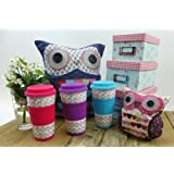 Owl Take Away Thermal Insulated Ceramic Eco Cup Travel Mug Silicon Lid & Grip (Pink)