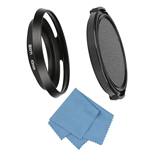 SIOTI Filmy Wide Angle Vented Metal Lens Hood with Cleaning Cloth and Lens Cap Compatible with Leica/Fuji/Nikon/Canon/Samsung Standard Thread Lens (Color: Wide Angle Vented, Tamaño: 43mm)
