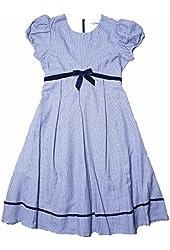 RARE EDITIONS Big Girls Navy/White Houndstooth Dress With Velvet Ribbon
