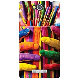 Sony Xperia C Painted Hands Matte Finish Phone Cover - Matte Finish Phone Cover