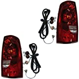 03 2003 Chevrolet/Chevy Silverado 1500 2500 (Except 3500) Pickup Truck Tail Lamp Light Rear Brake Taillight Taillamp (including HD heavy duty) Fleetside with Red Outer Trim Pair Set Right Passenger AND Left Driver Side