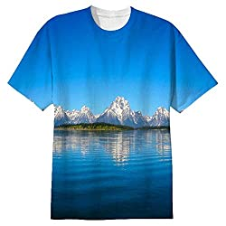 Snoogg Blue Water And White Mountain Mens Casual All Over Printed T Shirts Tees