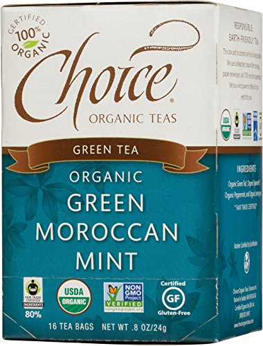 Choice Organic Green Moroccan Mint Tea, 16 Count Box