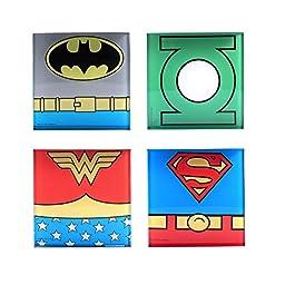 DC Comics DC0354CS1 Super Heroes Glass Coasters (4 Pack), Multicolor