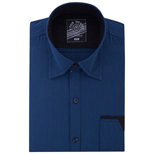 Your Desire Shirts Men Cotton Blue and Black Formal Shirt (Size 40)