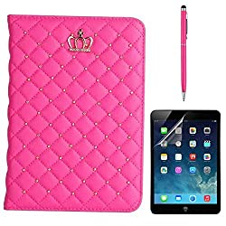 iPad Mini 4 Case, Gift-Hero(TM) Fashion PU Leather Crown Design Bling Protective Smart Stand Cases Cover for Apple iPad Mini 4 (Hot Pink)