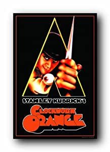 (24x36) A Clockwork Orange Movie Peering Through Triangle Flocked Blacklight Poster Print
