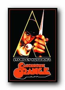 (24x36) A Clockwork Orange Movie Peering Through Triangle Flocked Blacklight Poster Print