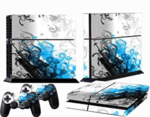 Ps4 Skins White Blue Black Stripes Decal Vinyl Cover for Playstation 4 Console and Two Ps 4 Controllers