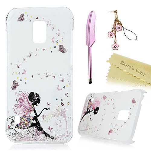 S5 Active Case,Galaxy S5 Active Case (Not for S5) - Mavis's Diary Lovely Pink Butterfly Fairy Colorful Flowers Pattern Clear Cover Hard PC Case for Samsung Galaxy S5 Active & Cute Dust Plug & Stylus (Teenager Dress Form compare prices)