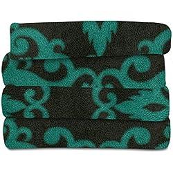 Electric Throw Blankets - Sunbeam Heated Throw, Fleece Extra Soft with 3 Heat Settings & 3 Hour Auto-Off, Teal & Black, 50 x 60