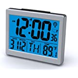 "Atomic Desk/bedroom Alarm Clock-1.5"" Time Number, Back Blue Light"