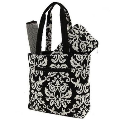 Belvah Quilted Damask 3pc Diaper Bag (Black) - 1