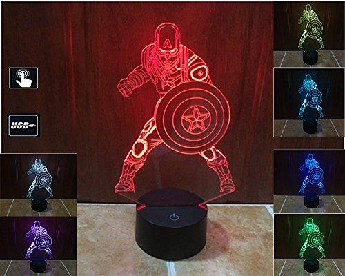 LIONKING USA Captain America 3D Optical Illusion Multi-colored Change Touch Botton Table Light - 3D Acrylic Home Decor lamp 0058 (Captain America 212 compare prices)