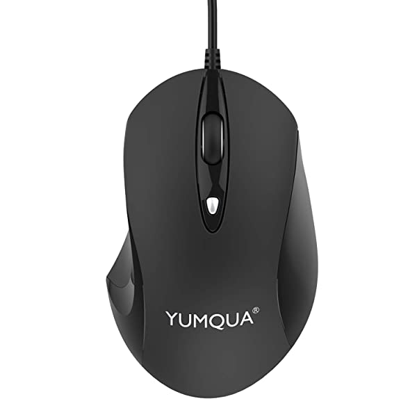 YUMQUA 4 Button USB Wired Mouse, Office Business Optical Ergonomic Computer Mouse with 3 Adjustable DPI Levels (1600/1000/600), Compatible with PC, La