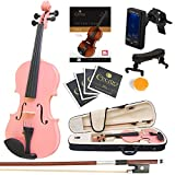 Mendini Full Size 4/4 MV-Pink Solid Wood Violin with Tuner, Lesson Book, Shoulder Rest, Extra Strings, Bow and Case, Metallic Pink