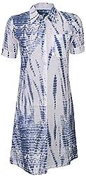 Attuendo Women's Tie-dye Print Shirt Dress (Medium)