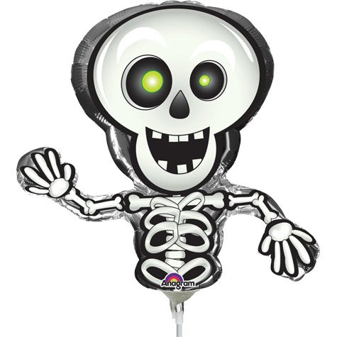 "Happy Skeleton Shaped 14"" Already Air-Filled Cup & Stick Included Mylar Balloon"