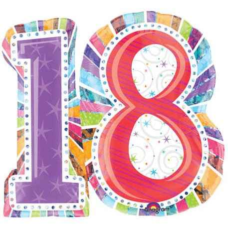 "Anagram International Radiant Birthday 18 Foil Balloon, 28 by 26"", Multicolor"
