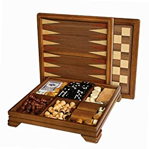 Walnut 7-Games-in-1 Combination Game Set - Includes Chess, Checkers, Backgammon, Dominoes, Cribbage, Poker, Dice and Cards