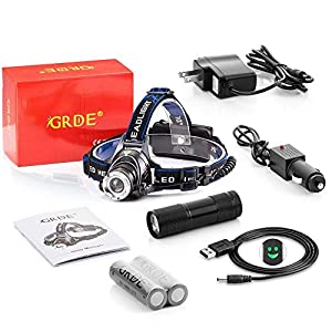 9 LED Flashlight +3 Modes Zoomable 1800 Lumens Led Headlamp, Comfortable Hands-free Head light-For Camping Biking Working Hunting ;Led headlight Wth 2 Rechargeable 18650 Batteries + Car Charger