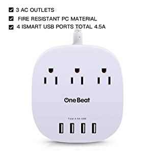 Desktop Power Strip with 3 Outlet 4 USB Ports 4.5A, Flat Plug and 5 ft Long Braided Extension Cords for Home and Office, ETL Listed, White