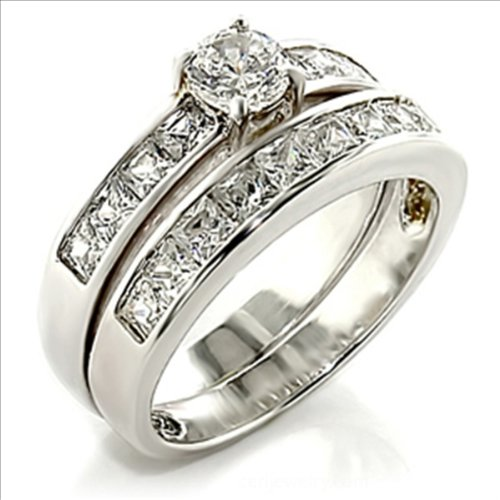 .75ct cz Round Brilliant cut Bridal Wedding Ring 2 pc set Platinum Plated (8)