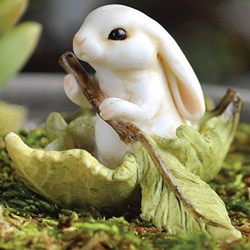 "Fiddlehead Fairy Village - Bunny in a Boat 2"" L"