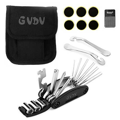 GVDV 16 in 1 Multi Function Bike Tools with Patch Kit & Tire Levers Bicycle Fixie Cycling Repair Tools Cycle Maintenance Kits Set with Pouch (Fixie Bike Repair Kit compare prices)