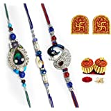 Daksh Creations Rakshabandhan (rakhi) Studded With Peacock Feather With Blue Green Combinations With Shankh
