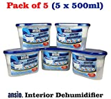 ANSIO 94610 Interior Dehumidifier, 500 ml, Pack of 5