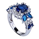 YAZILIND Valentines Day Elegant Royal Crystal Flower Topaz Rings Wedding Jewelry For Women
