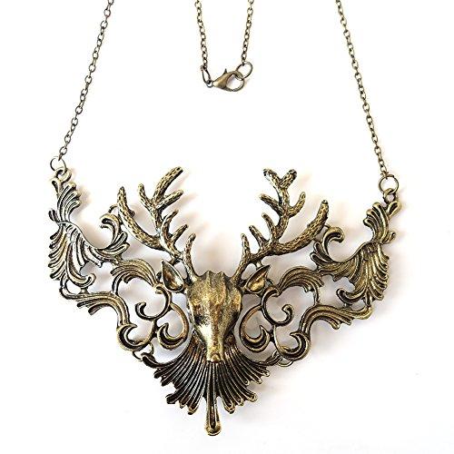 Eternity-J-Vintage-Pierced-Cutout-Reindeer-Statement-Necklace-Antique-Steampunk-Vampire-Pendant-Chain