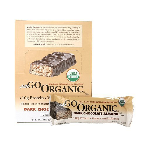 Nugo Nutrition Organic Protien Bar - Dark Chocolate Almond - Case Of 12 - 50 Grams
