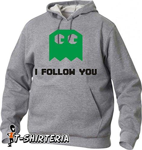 """felpa con cappuccio humor """"I follow you"""", cartoon, video game - tutte le taglie uomo donna S M L XL XXL maglietta by tshirteria"""