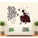 Hoopoe Decor Beautiful Girl With Birds And Flowers Wall Stickers And Decals - B011GSN40C