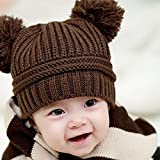 Suppion Cute Baby Kids Girl Boy Dual Balls Warm Winter Knitted Cap Hat Beanie (Coffee)