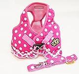 ピンク 可愛い ドット 柄 フリル 付 ハーネス 小型 の 犬 猫 カワイイ リード セット(M)