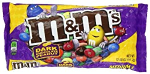 M&M's Dark Chocolate with Peanut Candy, 12.6-Ounce Packages (Pack of 6)