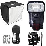 Canon Speedlite 600EX II-RT, Polaroid Mini Universal Studio Soft Box Flash Diffuser, RitzGear Cleaning Kit, Compact Battery Charger & Accessory Bundle