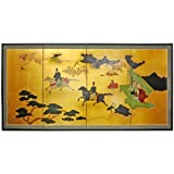 Oriental Furniture Stunning Big Large Size Wall Art, 6-Feet Wide Heaven View Asian Style Gold Leaf Screen Painting, 36 by 72-Inch