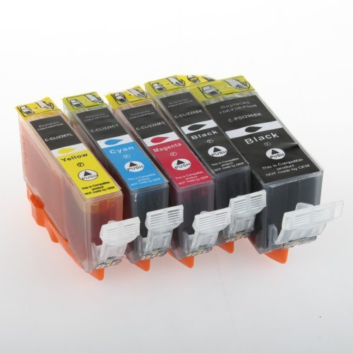 Compatible Ink Cartridge Replacement for Canon PGI225 and CLI226 (1 Large Black 1 Small Black 1 Cyan 1 Magenta 1 Yellow) 5 Pack