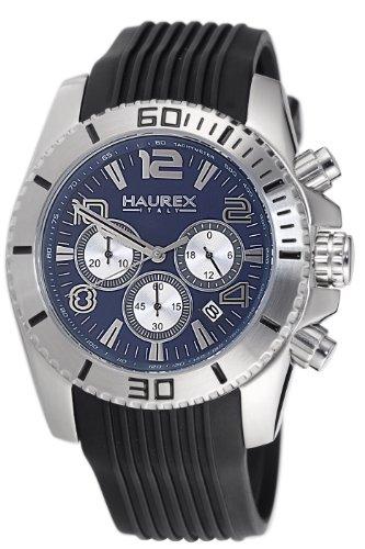 Haurex Italy - 3A351UB1 - Montre Homme - Quartz - Chronographe - Bracelet Caoutchouc Noir