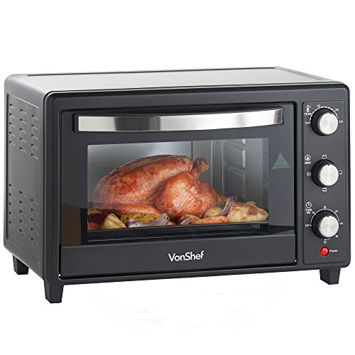 vonshef-30l-black-mini-oven-grill-1600w-with-baking-tray-wire-rack-free-2-year-warranty