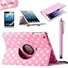 Pandamimi ULAK(TM) 360 Rotating PU Leather Folio Stand Case Cover with Auto Sleep/Wake Function for Apple iPad Mini 7.9 Inch with Stylus and Screen Protector (Pink Dot)-not suit for ipad mini with retina