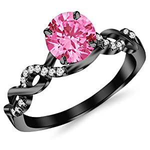 0.63 Carat 14K Black Gold Twisting Infinity Gold and Diamond Split Shank Pave Set Diamond Engagement Ring with a 0.5 Carat Natural Pink Sapphire Center (Heirloom Quality)